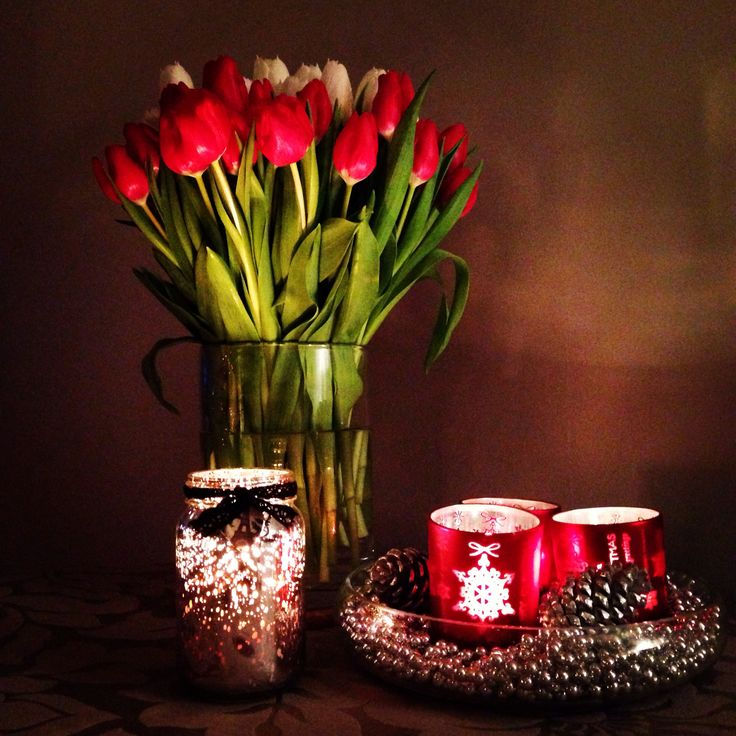 Candles, flowers, tulips