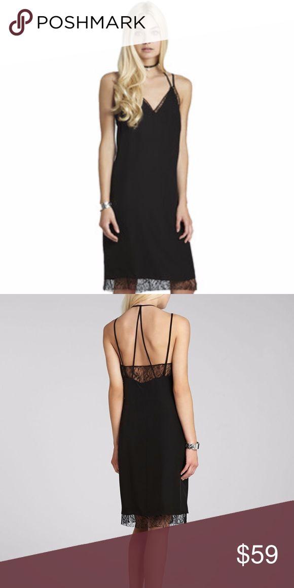 BCBGeneration Lace Trim Slip Dress size xxs Lace trim lends a touch of lovely to BCBGeneration's dainty slip-inspired dress. V neck, sleeveless, lace trim, strappy open back, lined, pullover style Polyester Machine wash BCBGeneration Dresses Midi