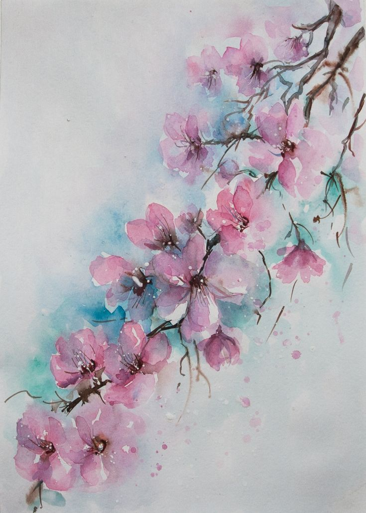 CHERRY BLOSSOMS Watercolor, cherry blossoms, blossom art, Pink Tree Watercolor, Floral Watercolor, Pink Home Decor, Nursery Room Decor, pink