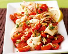 Pan-Seared Calamari with Tomatoes, Pine Nuts and Capers
