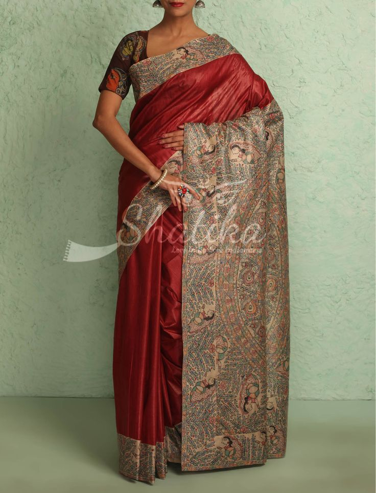 Nalini Plain Wine Red With Intricate Handpainted Border Pallu Madhubani Silk Saree