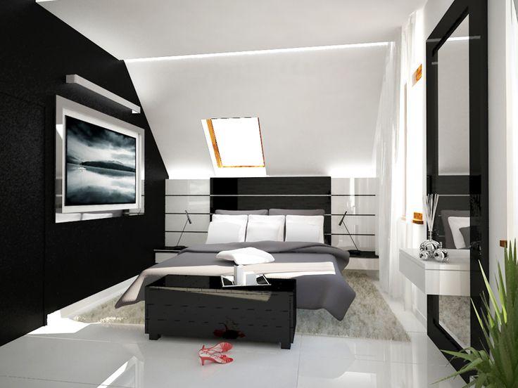 Projekt aranżacji wnętrz sypialni ze skosem