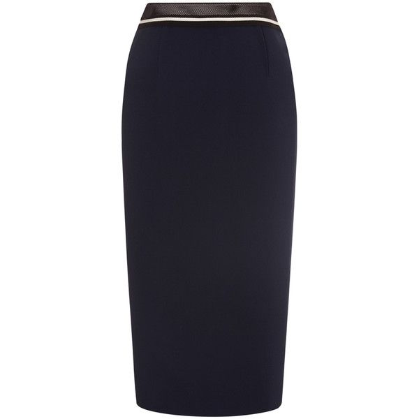 Roland Mouret Arreton Skirt ($875) ❤ liked on Polyvore featuring skirts, midi, navy, stretch skirt, below knee pencil skirt, pencil skirt, midi skirt and below knee length pencil skirts