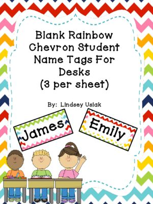 FREE Rainbow Chevron Theme Name Tags for Student Desks from Lindsey's Classroom Creations on TeachersNotebook.com (4 pages)