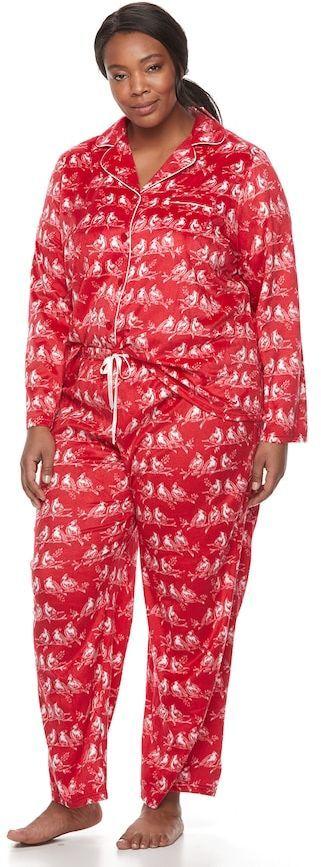 Croft & Barrow Plus Size Pajamas: Fleece Top & Pants 2-Piece PJ Set