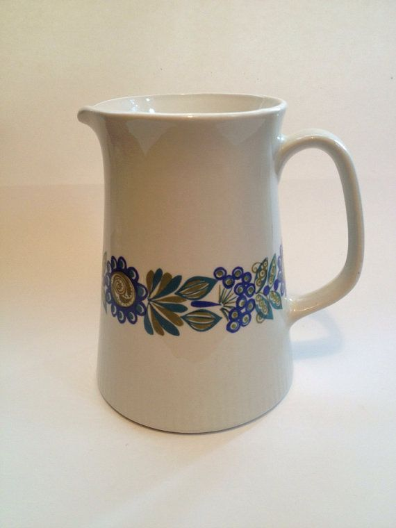 Vintage Flint Figgjo Pitcher / Tor Viking / Flower by MelbaMoon, $32.00