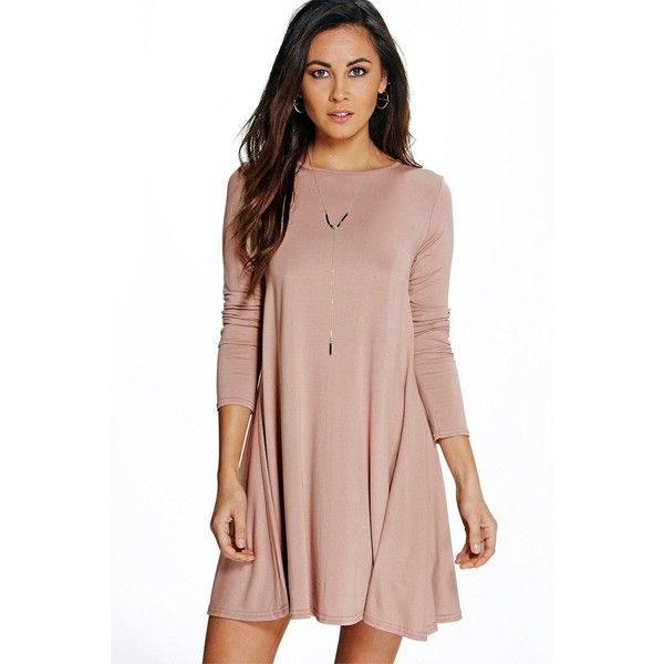 Boohoo April Scoop Neck Long Sleeve Swing Dress (425 MXN) ❤ liked on Polyvore featuring dresses, sand, bodycon mini dress, midi dress, long-sleeve midi dresses, long sleeve party dresses and long sleeve dress