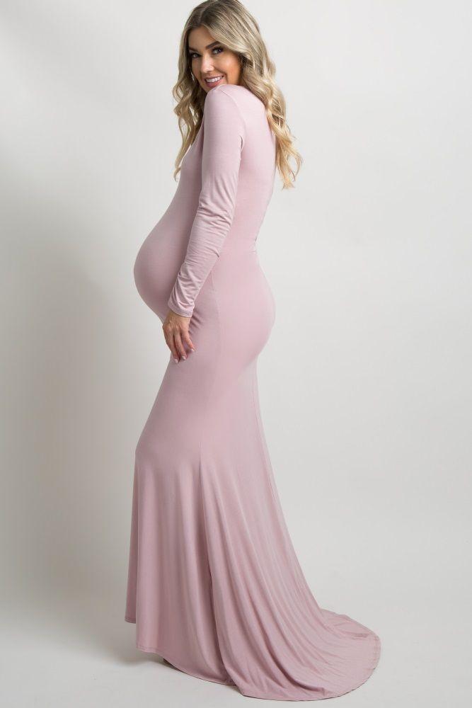 Pinkblush Beige Long Sleeve Photoshoot Maternity Gown Dress Pink Long Sleeve Dress Maternity Gowns Stylish Maternity Outfits