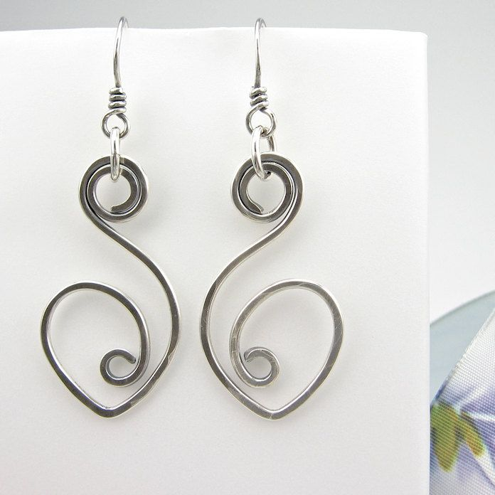 Sterling Wirework Earrings, Hand-Forged, Hammered Silver via Etsy.