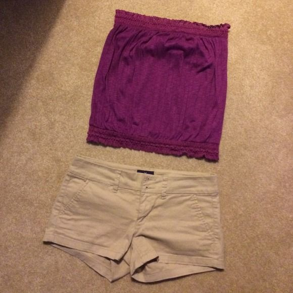 AEO purple tube top. Lace on top and bottom. Really lightweight material. Built in bra. 100% polyester. Lace 92% cotton, 7% nylon, 1% spandex. Cute with jeans or a skirt. Only wore twice. American Eagle Outfitters Tops