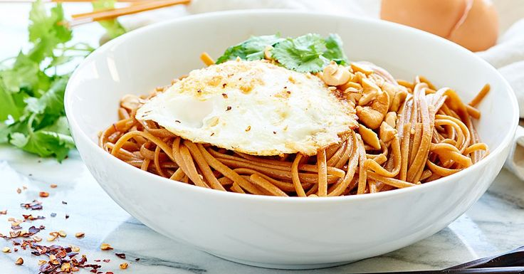 These Easy Asian Noodles are so good! A healthy, vegetarian recipe made w/ whole wheat pasta & over easy eggs! They're easy, tasty & better than delivery!