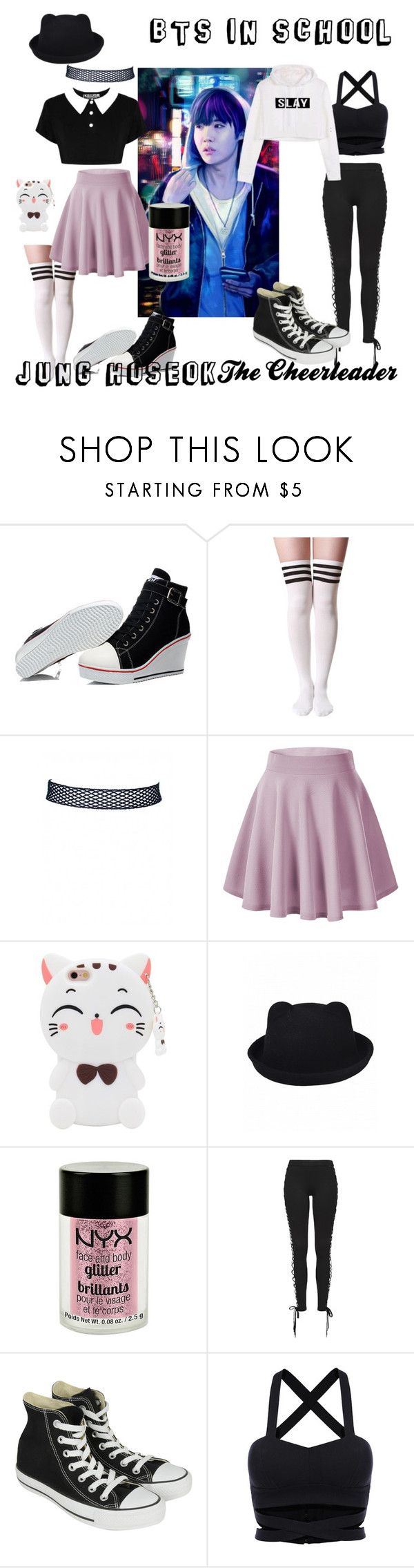 """""""BTS in School: Jung Hoseok- The Cheerleader"""" by jungkookielove ❤ liked on Polyvore featuring Killstar, Samsung, Charlotte Russe, Puma and Converse"""