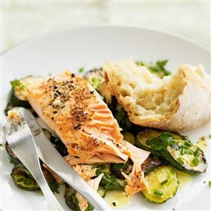 Pan-fried salmon with herby courgettes Recipe | delicious. Magazine free recipes