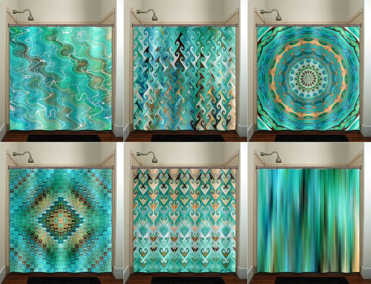 Aqua Turquoise Teal Shower Curtain Fabric Extra Long Window Panel Kids Bathroom Decor