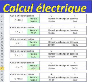 Calcul électrique avec excel