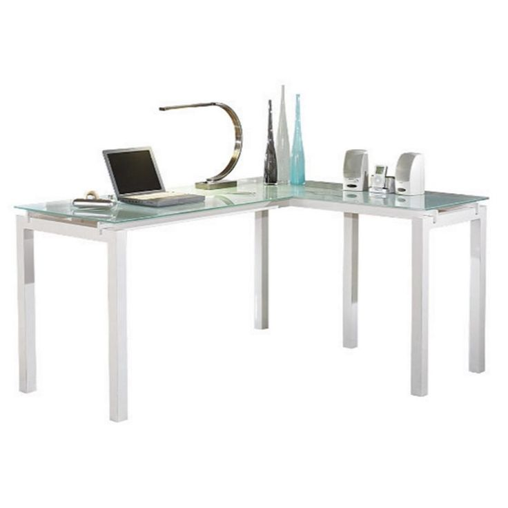 Lowest price online on all Signature Design by Ashley Furniture Baraga L Shaped Desk in White - H410-24