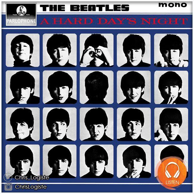 The Beatles - A Hard Day's Night (10 juillet 1964) // On est en pleine Beatlemania. Les concerts s'enchaînent à un rythme démesuré, et les Bealtes composent chanson sur chanson, album sur album. Le style par rapport au début n'a que peu changé. Cependant (et cela fait partie du génie de ce groupe), toutes les chansons excellentes.#theBeatles #Beatles #album #musique #lennon