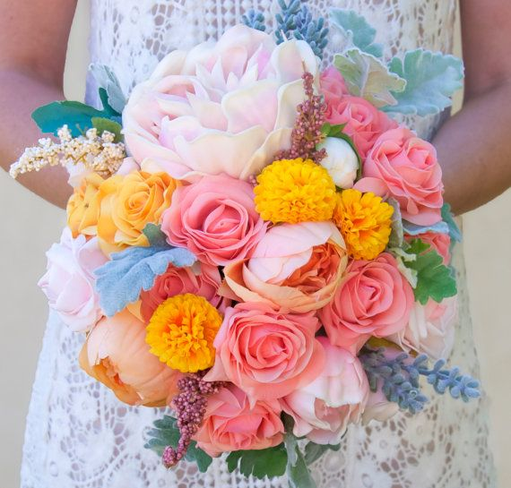 Soft summer peony bouquet in soft pink, yellow, orange, dusty miller, rose watermelon..by AshleeLaurenDesigns