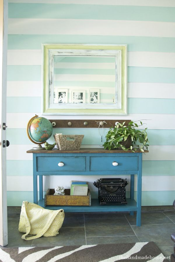 entry console + wall stripes