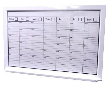 A fully custom weekly planner whiteboard in an extra-large size (2' by 3')