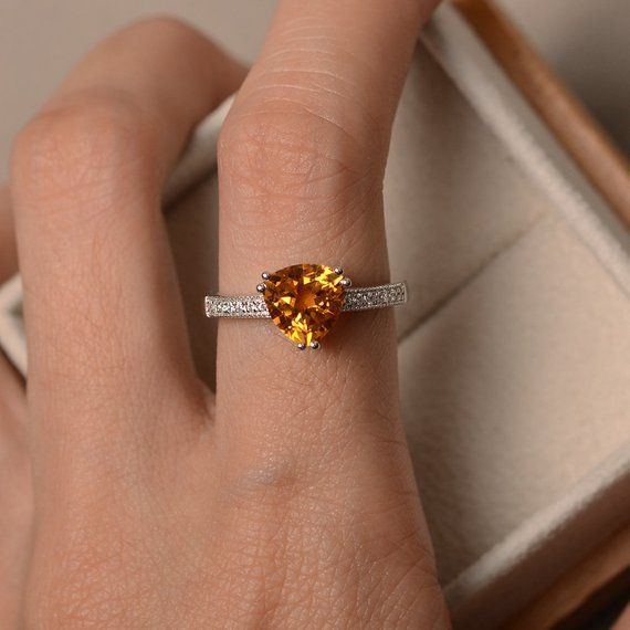 Yellow citrine ring 6 prong sterling silver engagement ring November Birthstone for women