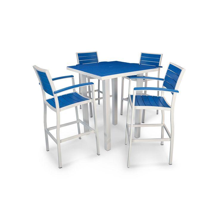 Polywood® Euro 5-piece Outdoor Bar Table Set, White