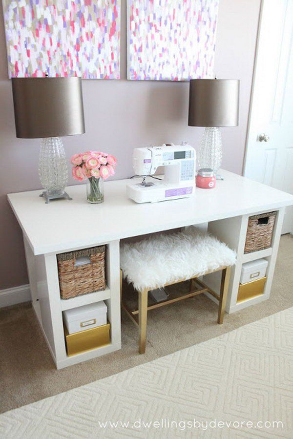 DIY Sewing Desk. A practical and affordable sewing desk for housewives to do some sewing projects at home.