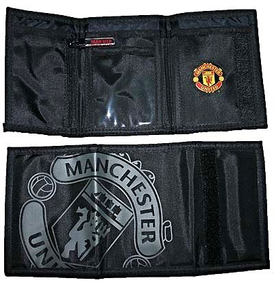 Manchester United Official Black Wallet with Silver Crest