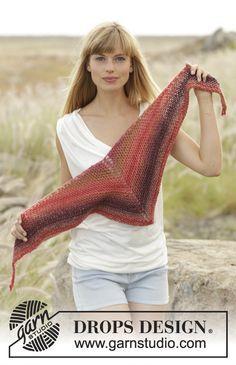 "DROPS shawl in garter st in ""Big Delight"". Free #knitting Pattern"