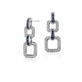 Blue Sapphire and Diamond Geometric Drop Earring in 18K White Gold ()