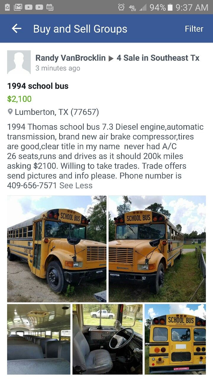 1994 school bus for sale october 8 2016 for 2 100