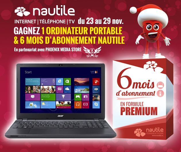 Gagnez votre ordinateur portable et 6 mois d'abonnement internet grâce à Nautile, votre fournisseur d'accès internet en Nouvelle-Calédonie : https://www.nautile.nc/blog/concours-ordi-abo-internet