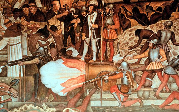 La batalla de Tlatelolco. Affresco di Diego de Rivera dal ciclo sulla storia del Messico.