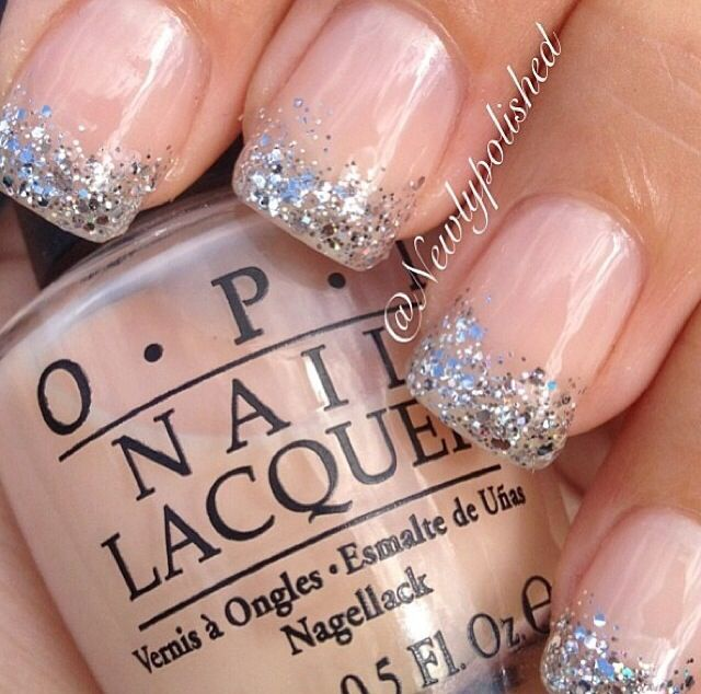 Sparkly French manicure!