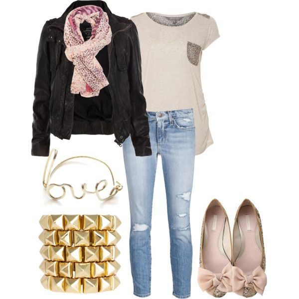 Outfit nice out fit has  a hard edge witha soft side with the ballet flats