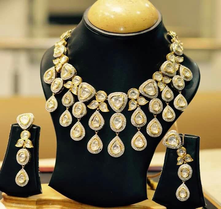 Bikananeri diamond polki jewellery set