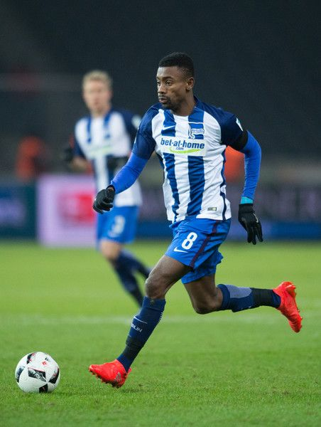 Salomon Kalou of Berlin runs with the ball during the Bundesliga match between Hertha BSC and SV Darmstadt 98 at Olympiastadion on December 21, 2016 in Berlin, Germany.