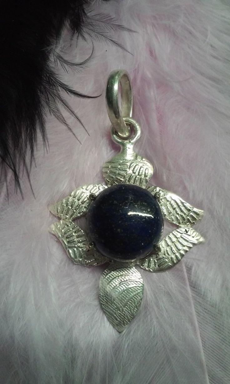 Lapis lazuli silver medal by Zsuzsanka on Etsy