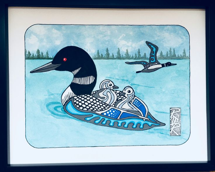 """Mother Loon"" Ink and Acrylic created by Rick Roberts"