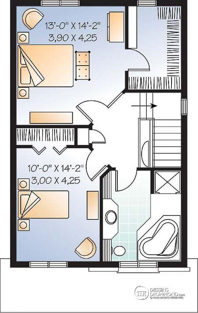 Plan de Étage Maison économique, style craftsman, 2 à 3 ch., salle de séjour remarquable - Edward 2