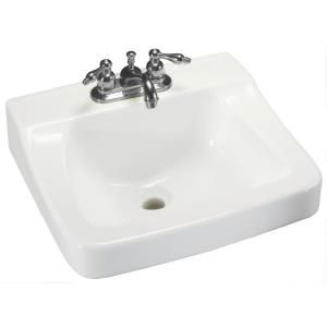 Glacier Bay Aragon Wall Mounted Bathroom Sink In White Wall Mounted Bathroom Sinks Wall Mount