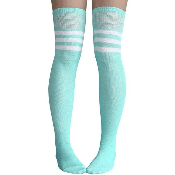 Chrissy's Socks Women's Striped Thigh High Socks 7-11 Mint Green /... ($12) ❤ liked on Polyvore featuring intimates, hosiery, socks, white thigh high socks, white striped socks, striped thigh high socks, mint green socks and striped socks