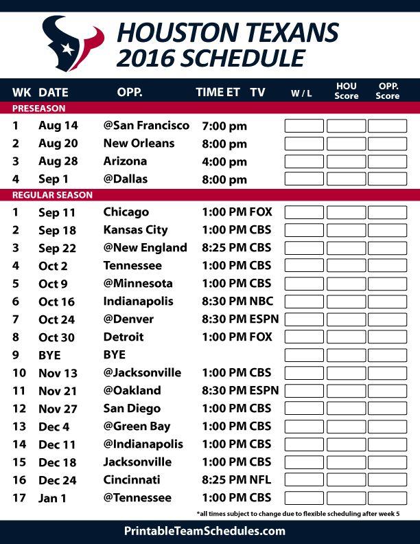 Houston Texans Football Schedule. Print Schedule Here - http://printableteamschedules.com/NFL/houstontexansschedule.php