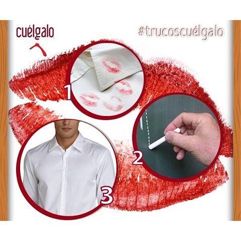 #trucoscuélgalo Desaparece las manchas de lápiz labial en tus prendas de vestir con tiza blanca.