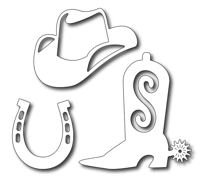 Frantic Stamper - Precision Dies - Cowboy Aceessories (Boot, Hat, Horseshoe),$17.99