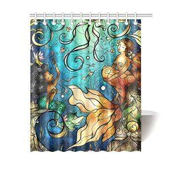 Mermaid Shower Curtain $37.99 www.mermaidhomedecor.com - Mermaid Shower Curtains