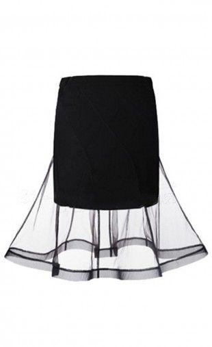$24.99 Net Yarn Patchwork Flared Skirt: