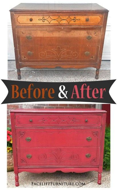 Art deco dresser given a new life in Barn Red with black glaze. Before & After from Facelift Furniture