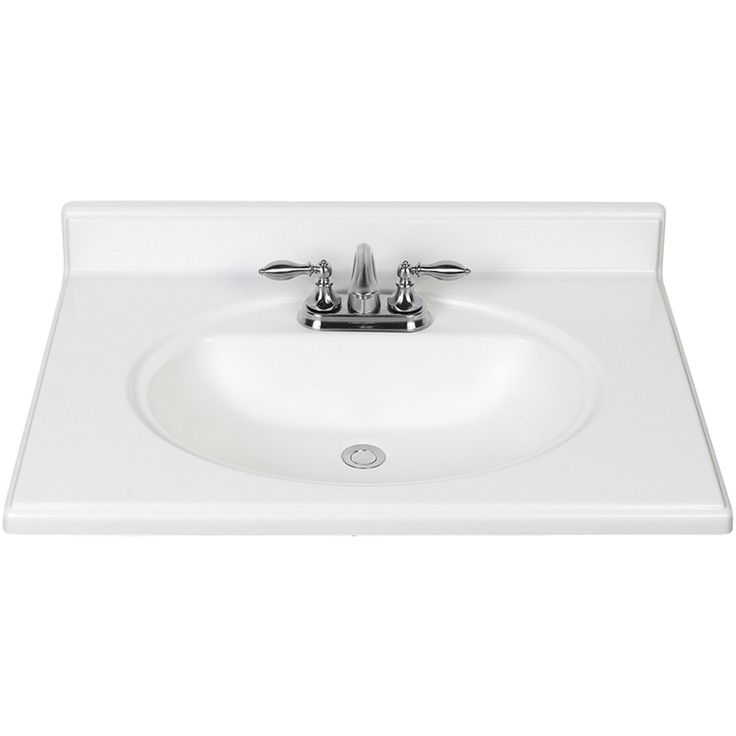Shop style selections white cultured marble integral single sink bathroom vanity top common 31 - Cultured marble bathroom vanity tops ...