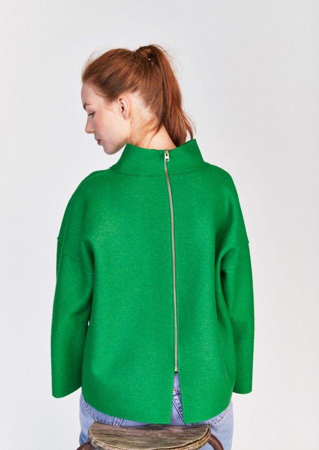 Top vert ample en laine vierge bouillie - femme - tara jarmon 2